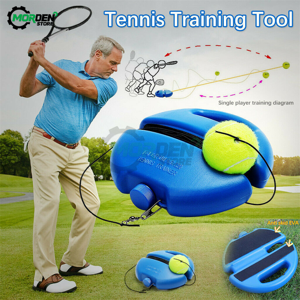 Rebound Tennis Training Tool Solo Tennis Trainer Singles Retractable Training Ball With Elastic Rope Base