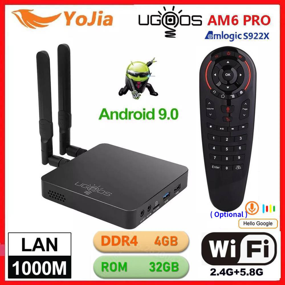 UGOOS AM6 Pro TV BOX Android 9.0 Amlogic S922X AM6 4K Media Player DDR4 4GB RAM 32GB ROM 2.4/5G WiFi 1000M LAN BT 2G16G OTA