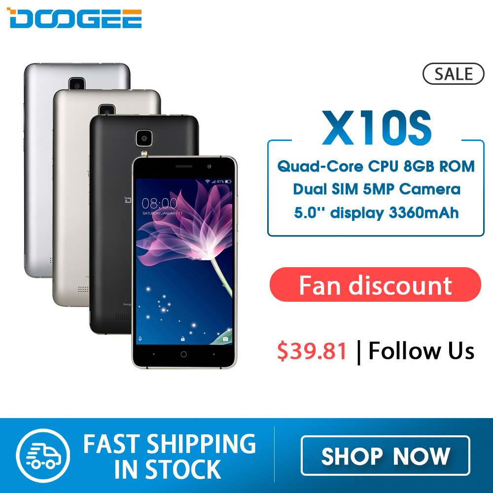 In Stock Now DOOGEE X10s Mobile Phones 5.0Inch IPS 8GB Android6.0 Smart Phone Dual SIM MTK6580 5.0MP 3360mAH WCDMA GSM Cellphone