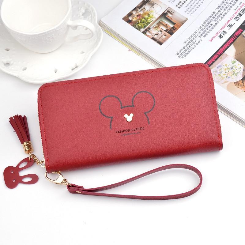 Disney Mickey Mouse Big Cute Wallet Lady Long Zipper Tassel Key Coin Purse Student Small Mini Wallet Minnie Card Holder Clutch
