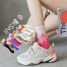 Ins Fashion Pinkycolor Women Socks Girls New Street Sports Warmer Thicken Spring Solid Colorful Middle Tube Soft free shipping