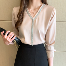 Korean fashion women blouses women silk shirt eleg
