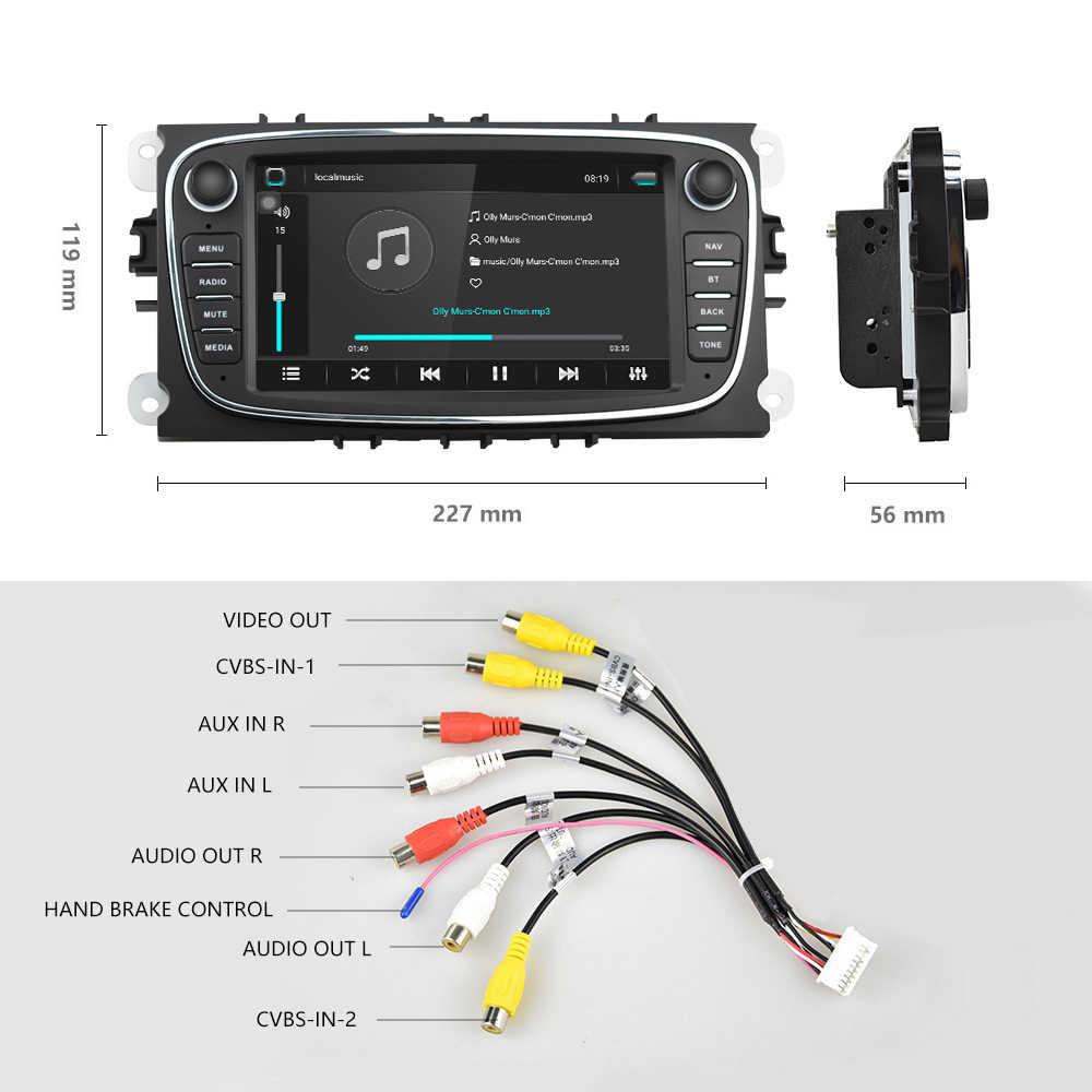 Podofo Android 8.1 GPS Xe Máy Bộ Đàm 2 DIN Máy Nghe Nhạc Đa Phương Tiện 7 ''Âm Thanh Đầu DVD Dành Cho Xe Ford/Tiêu Điểm /S-Max/Mondeo 9/Galaxyc-Max