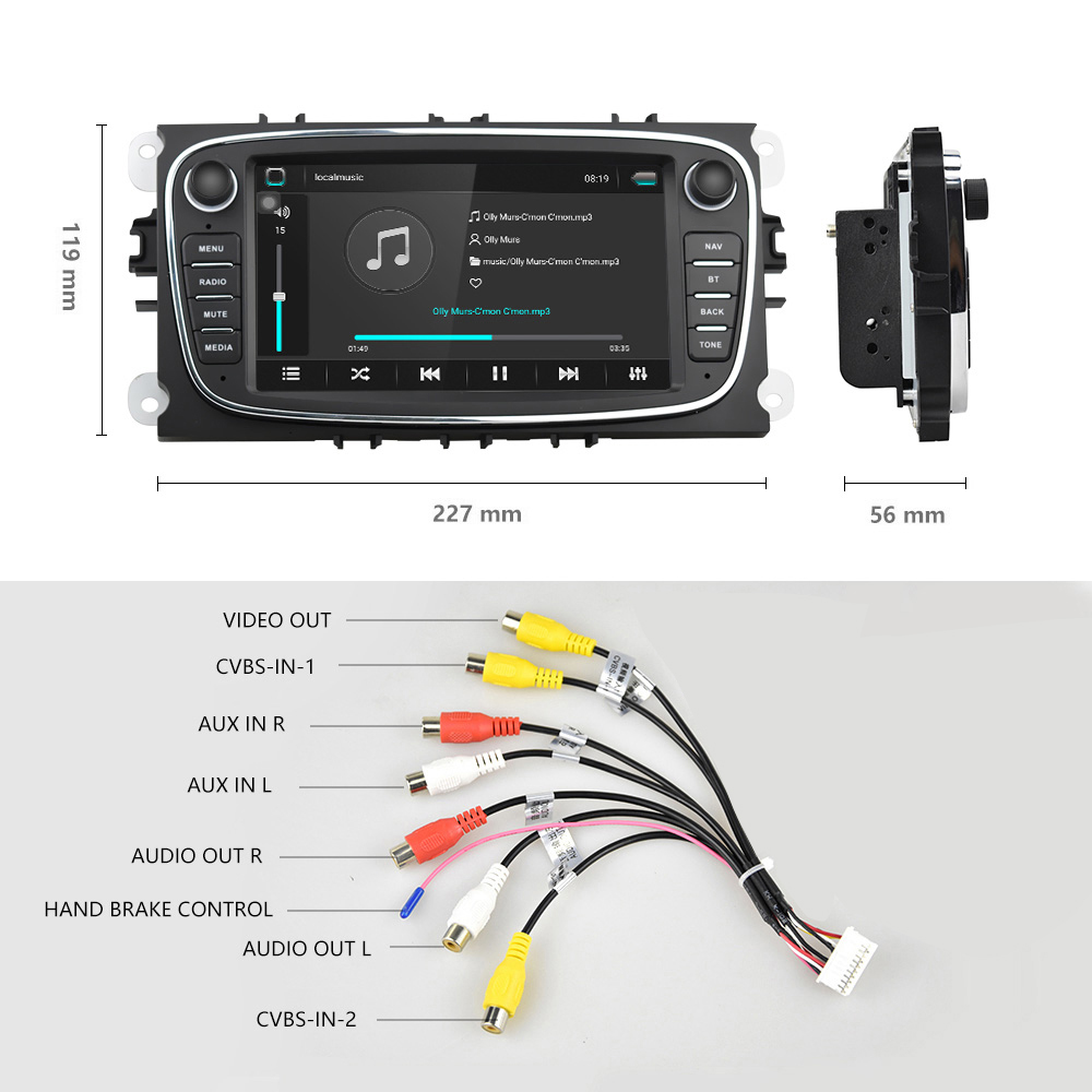 Podofo Android 8,1 gps автомагнитолы 2 Din Автомобильный мультимедийный плеер 7 ''аудио dvd плеер для Ford/Focus/S Max/Mondeo 9/Galaxy yc Max - 4