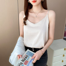 Ssatin face silk suspenders, wearing vests outside women's summer, V - neck sleeveless slim body blouse blouse blouse