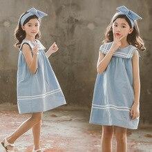 חדש 2020 בנות קיץ שמלת כותנה סגנון הסטודנטיאלי צווארון מלחים כותנה תינוק נסיכת שמלת פעוט פנאי אפוד שמלה יפה, #5157