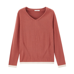 Image 5 - INMAN 2020 Spring New Arrival Literary Style Sleeve Cuffs Contrast Color Loose Style Women Knit Wear Tops