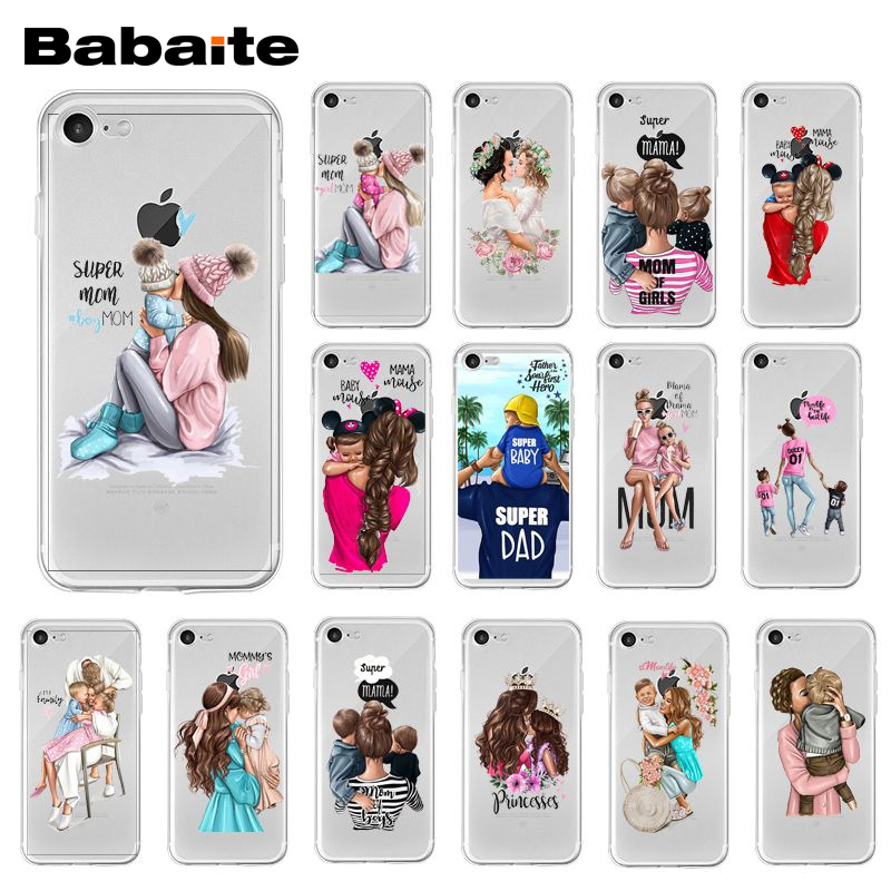 Babaite Fashion Black Brown Hair Baby Mom daughter Girl Son Dad Phone Case for iPhone XR 11 Pro Max XS MAX 8 7 6S Plus X 5S SE