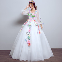 White Long Sleeve Quinceanera Dresses Vestido 15 Anos Robe De Bal Ball Gown Flower Women Lavendar Color Dress Sweet 16 Dress