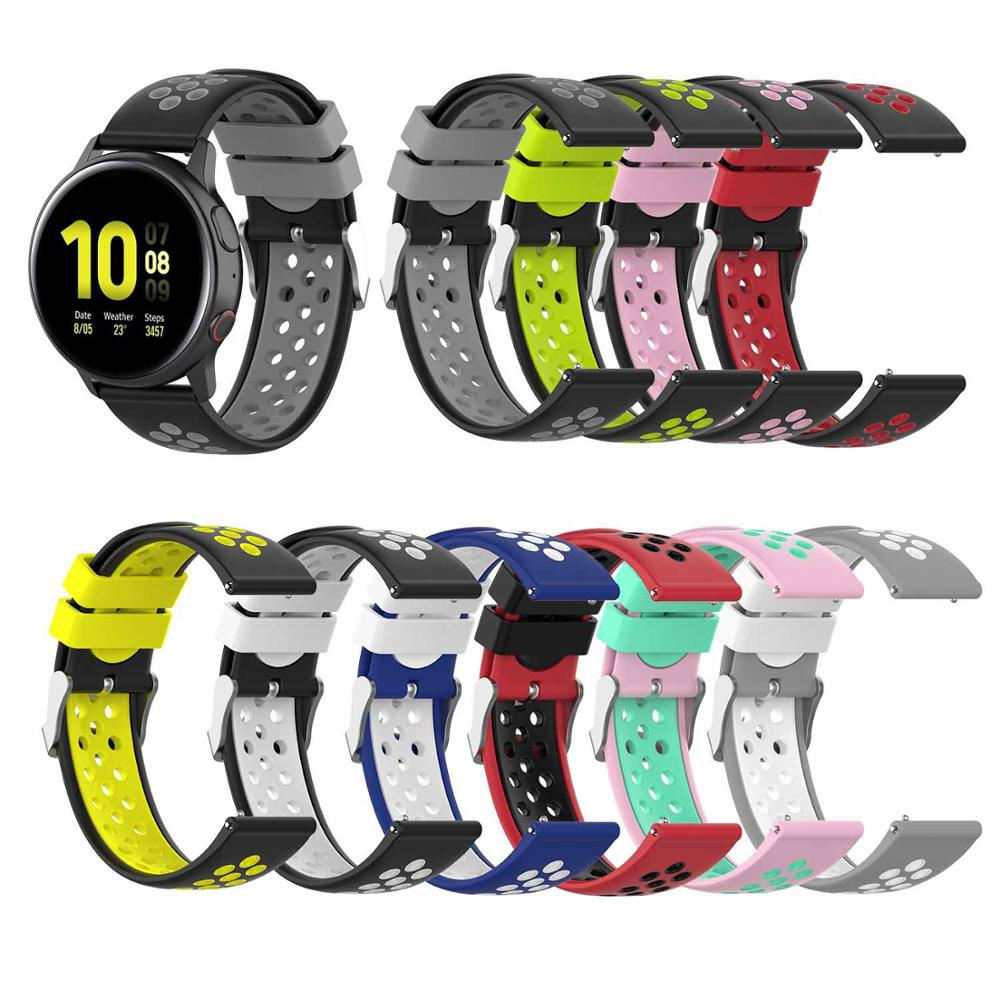 Silicone Band For Samsung Galaxy Watch 46mm 42mm Active 2 44mm 40mm Gear Sport S3 S2 Classic WristBand Strap Bracelet Watchband