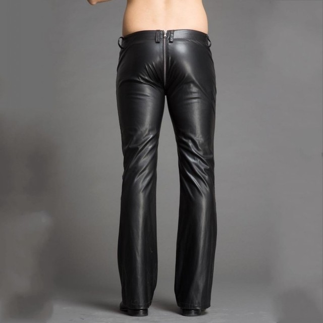 High Quality Men Pu Leather Flare Plus Size Slim Fit Punk Style Personality Zipper Bell-Bottomed Pants Stage Show Trousers 4