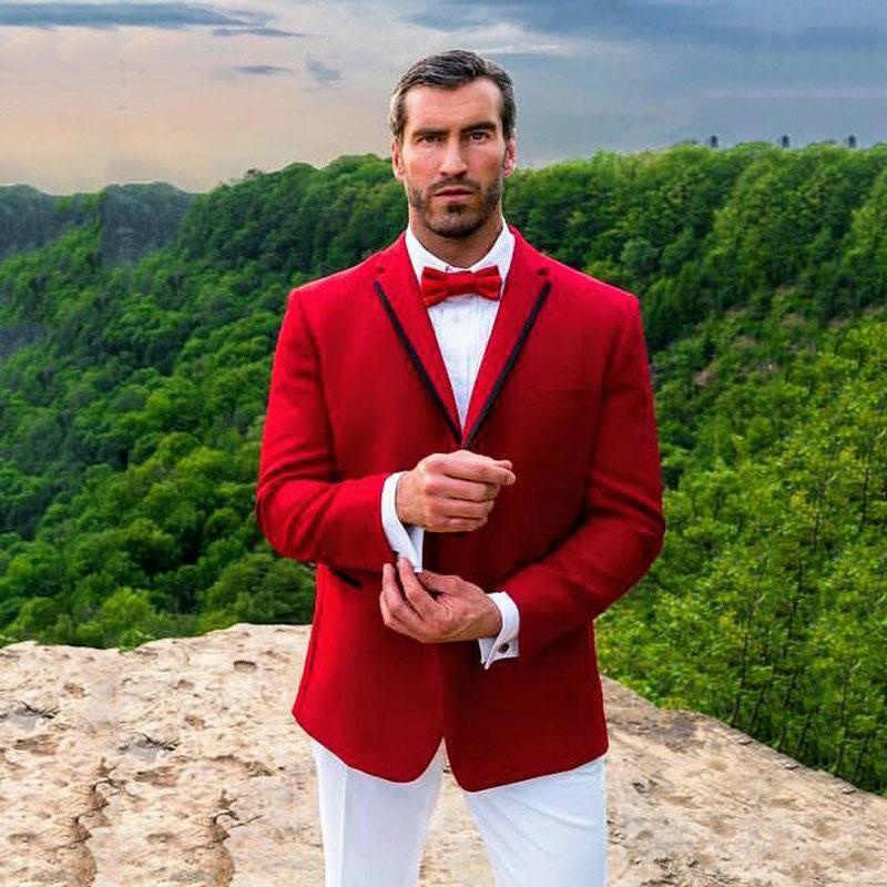 Nieuwste Ontwerpen Red Wedding Suits Broek Mannelijke Kleding Bruidegom Tuxedo Masculino Man Outfit Homecoming Party 2 stuks Blazer Kostuum Homme