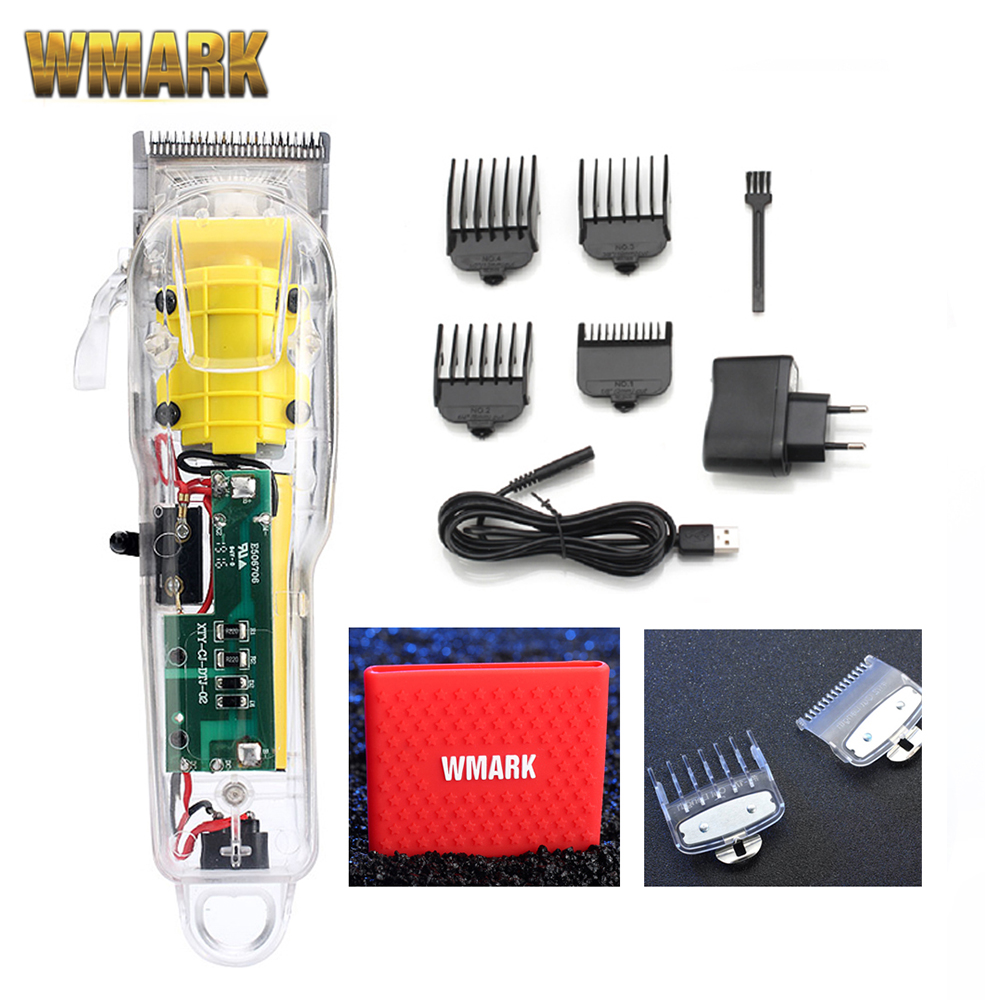 2020 WMARK New Model NG-108 Rechargeable Hair Clipper Transparent Cover White Or Red Base 2200 Battery 6500rpm