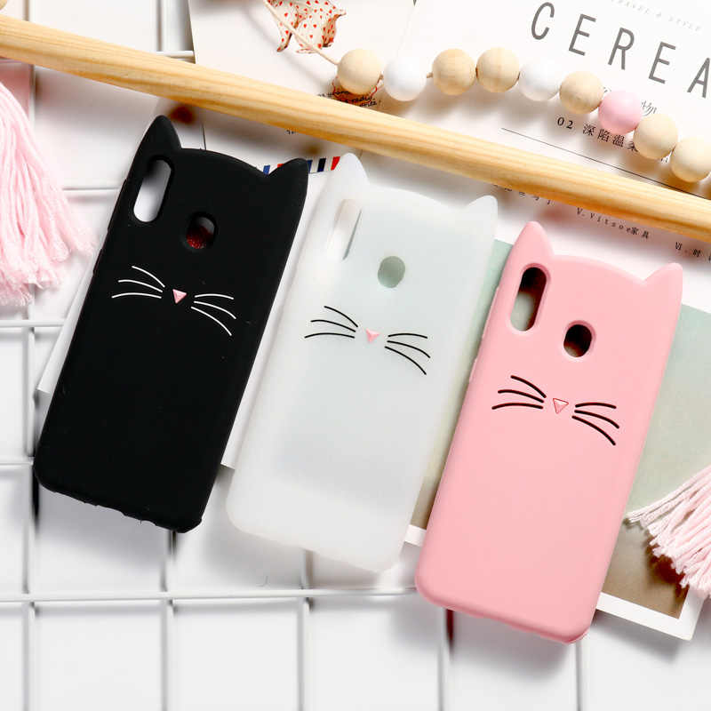 3D かわいい猫サムスンギャラクシー A50 A30 A70 ケースサムスンギャラクシー A7 2018 A9 A3 A5 2017 a8 A6 M10 M20 M30 注 8 9 カバー