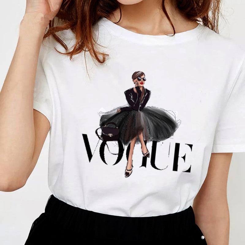 Women Printing T Shirt Beauty O-Neck Tops Tees Summer Style Female T-Shirt