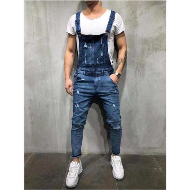 High Quality Men's Ripped Jeans Jumpsuits Hi Street Distressed Denim Bib Overalls For Man Suspender Pants Size XXXL Denim Pants 3