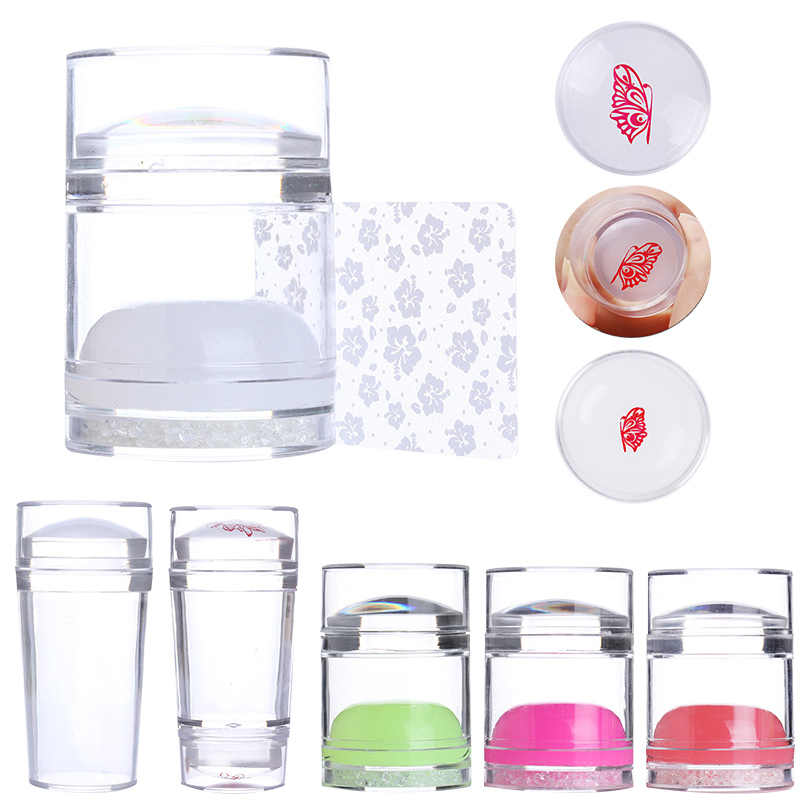 Dual-ended Jelly Nail Stamper Silicone Clear White With Rhinestone Nail Art Stamper With Nail Scraper Stamping Nail Kits