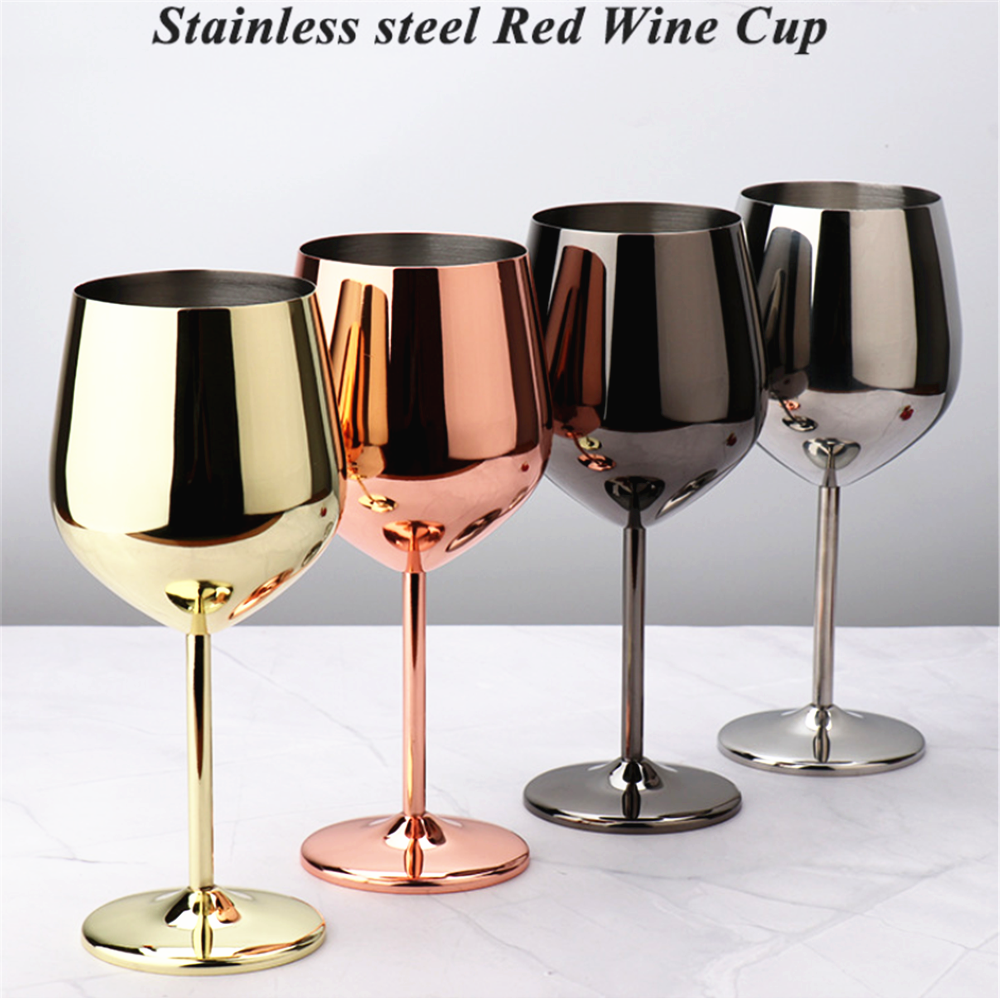 500/200ML Stainless Steel Goblet Champagne Cup Wine Glass Cocktail Glass Creative Metal Wine Glass Rose Gold for Bar Restaurant