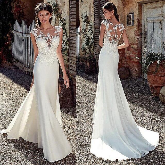Scoop Short Sleeves Lace Appliques Mermaid Wedding Dresses Natural Slim Buttons Back Women Bride Wedding Dress Spring Long 1
