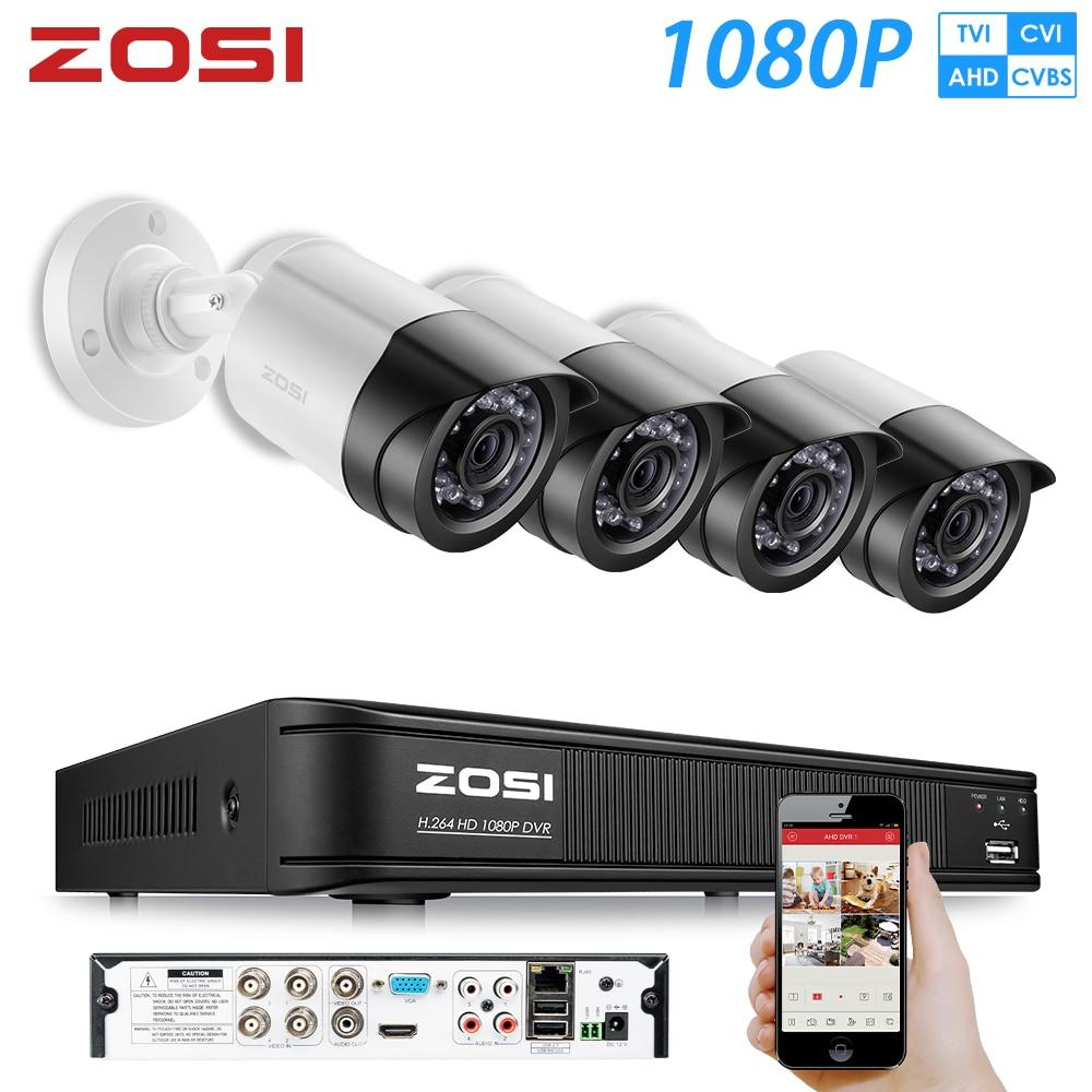 ZOSI AHD CVI TVI CVBS 1080P HD Sistema de cámara de seguridad para exteriores 1080P HDMI CCTV Videovigilancia 4CH DVR Kit HDD TVI Conjunto de cámara
