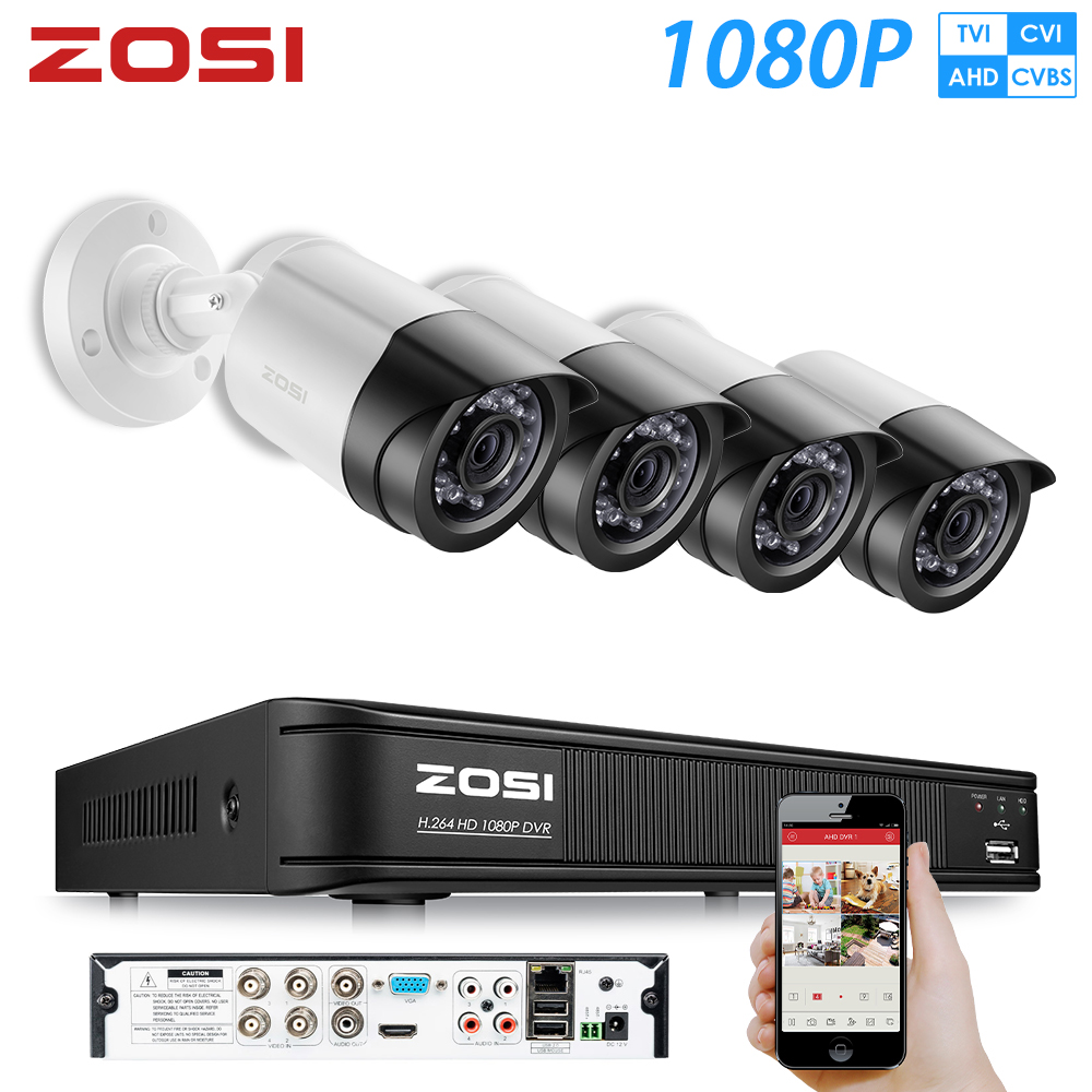 ZOSI 8CH 1080N HDMI DVR 8 1MP 4in1 Outdoor Dome IR Home Security Camera System