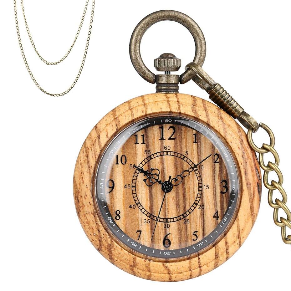 Retro Fashion Full Wooden Quartz Pocket Watch Brown Wood Watch Case Necklace Bronze Pendant Clock Chain Arabic Numeral Dial