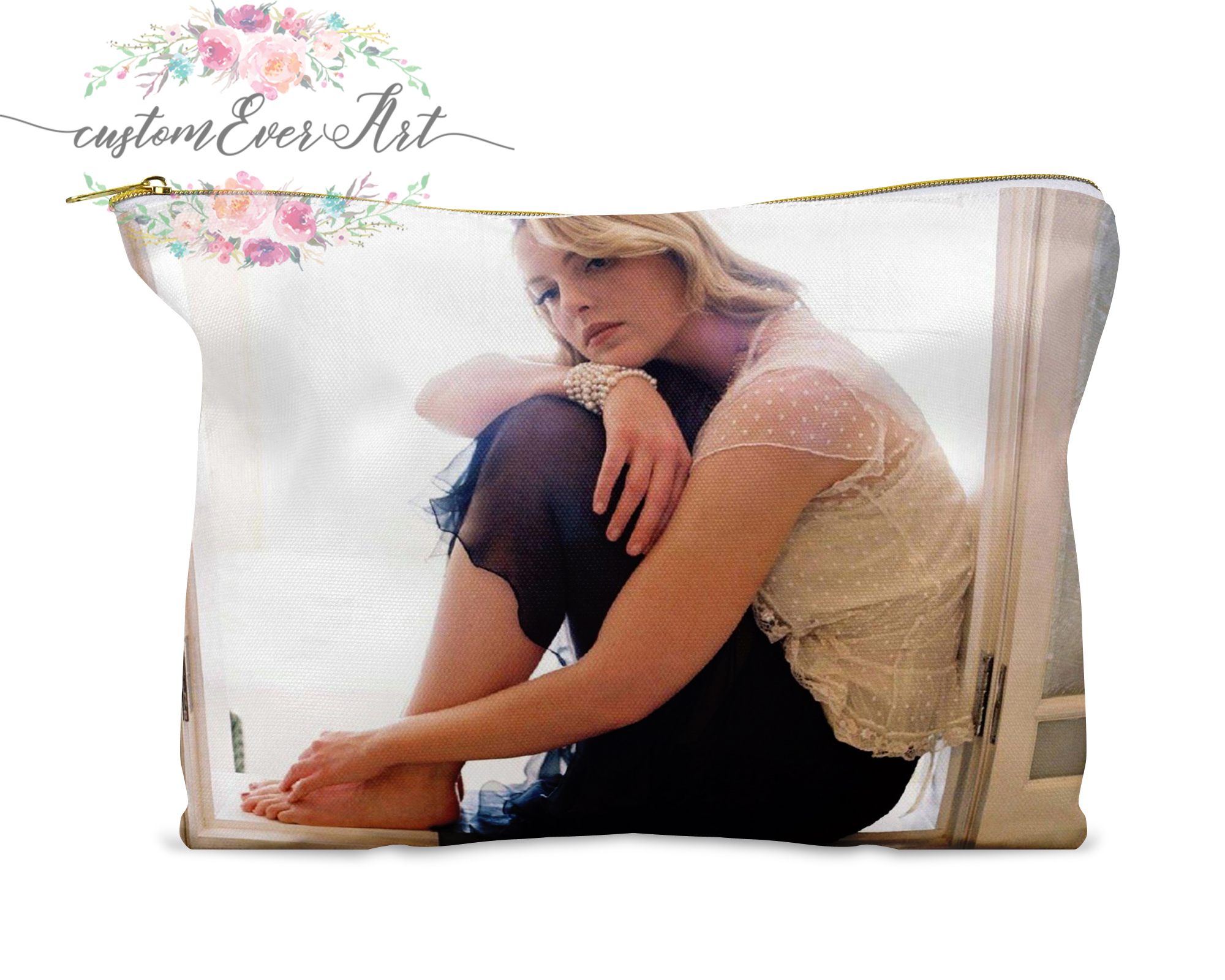 Katherine Heigl Cosmetic Bag Personalized Small Makeup Bag Funny Makeup Organizer Toiletry Bag Zipper Pouch