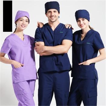 Size XL Medical Uniforms Hospital Doctor Short Sleeve Scrub Dental Clinic Beauty Workwear Cotton Nursing Surgery Clothes Woman