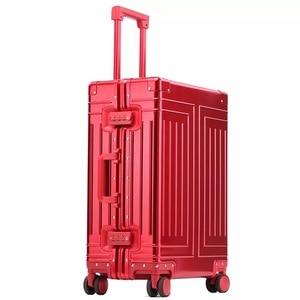 Image 5 - Nova qualidade superior 100% de alumínio magnésio bagagem viagem 20/24/28 polegada marca trolley mala spinner embarque rolando bagagem