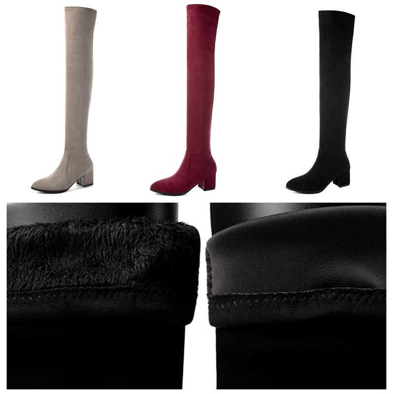 2019 neue Winter Frauen Stiefel Über Das Knie Frauen Stretch Mode Rot Schwarz Boot Sexy High Heels Stiefel Plüsch Fell stiefel Frauen Schuhe