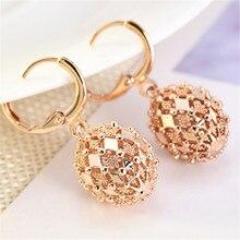 2019 New Fashion Women Gold Earrings Rhombus Hollow Sphere Dangle Drop Hoop Earrings Wedding Jewelry Christmas Gift