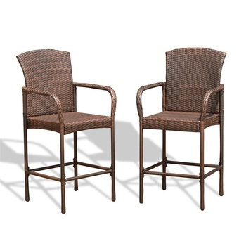 Wicker Furniture Set | Set Of Two Outdoor Rattan Wicker Bar Chairs Garden Furniture Bar Chair Lightweight And Durable Beach Furniture