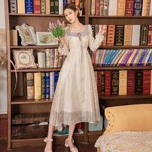 Женское винтажное платье с длинным рукавом и вышивкой в стиле