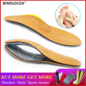 3D Premium healthy Leather orthotic insole for Flatfoot High Arch Support orthopedic Insole Insoles men and women shoes insert(China)
