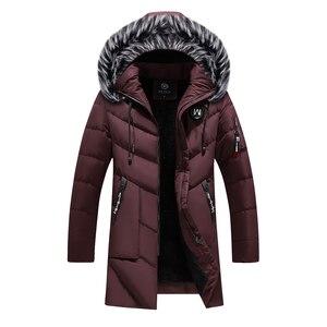 Image 4 - Chaqueta de invierno para hombre y mujer, abrigo grueso y delgado informal, Parkas con capucha, abrigos largos, Parka con cuello de piel, prendas de vestir