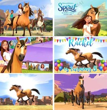 Spirit Horse Flowers Party Theme Photography Background Riding Boys or Girl Kids Birthday Dinner Table Backdrops Studio Video