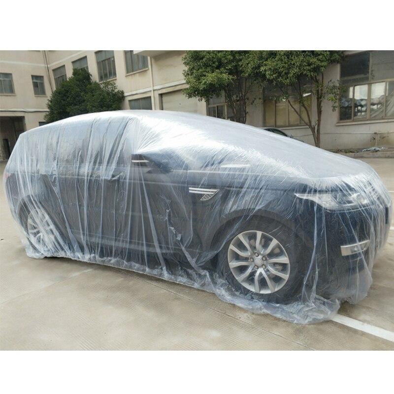 Universal Auto Abdeckung Wasserdicht Staubdicht Einweg Auto Abdeckungen Größe M-XL Transparent Kunststoff Auto Abdeckungen