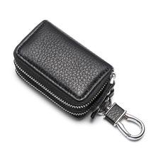 Man's Car Key Bags Mini Portable Leather Car Smart Key Pouch Purse Bag Lightweight Double-layer Pouch Bag Porta Llaves
