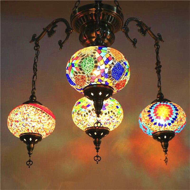 Этнические серьги Капельки Кулон с узором лампы витраж марокканский подвесной светильник коридор лестница кафе ресторан Подвесная лампа