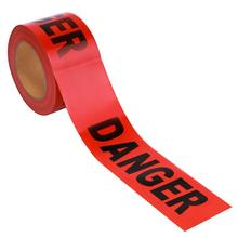 100M Barricade Ribbon Danger Tape Safety Bright Red Warning Tape Portable Roll for Law Enforcement Construction Works Safety