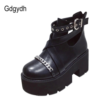 Gdgydh 2020 Hot Sales Women Ankle Boots Thick High Heeled Fmelae Mortorcycle Boots Platform Female Metal Chain Punk Women Boots chain design block heeled ankle boots