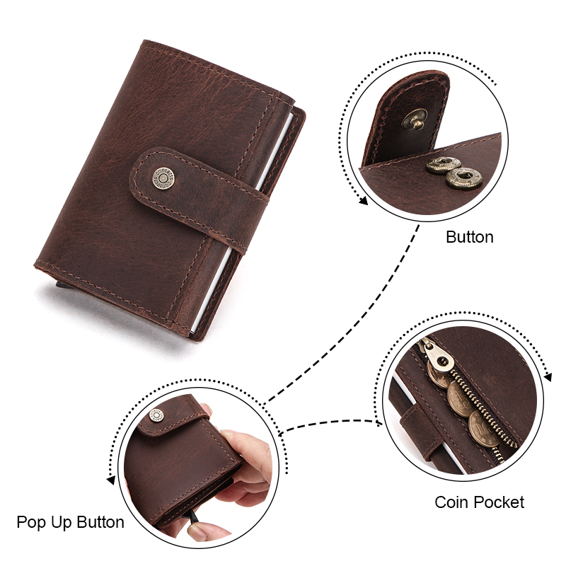 Image 2 - Contacts Men Card Case Business ID Card Holders Crazy Horse Leather Men Wallets Rfid Credit Card Holder Aluminium Box CustomizeCard & ID Holders   -