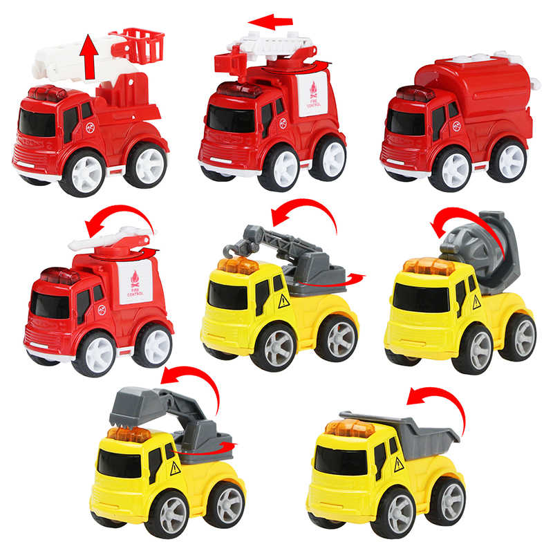 8pcs/set Mini Diecast Car Alloy Fire Construction Truck Engineering Truck Inertia Vehicles Model Toy Car Toys for Boys Gifts