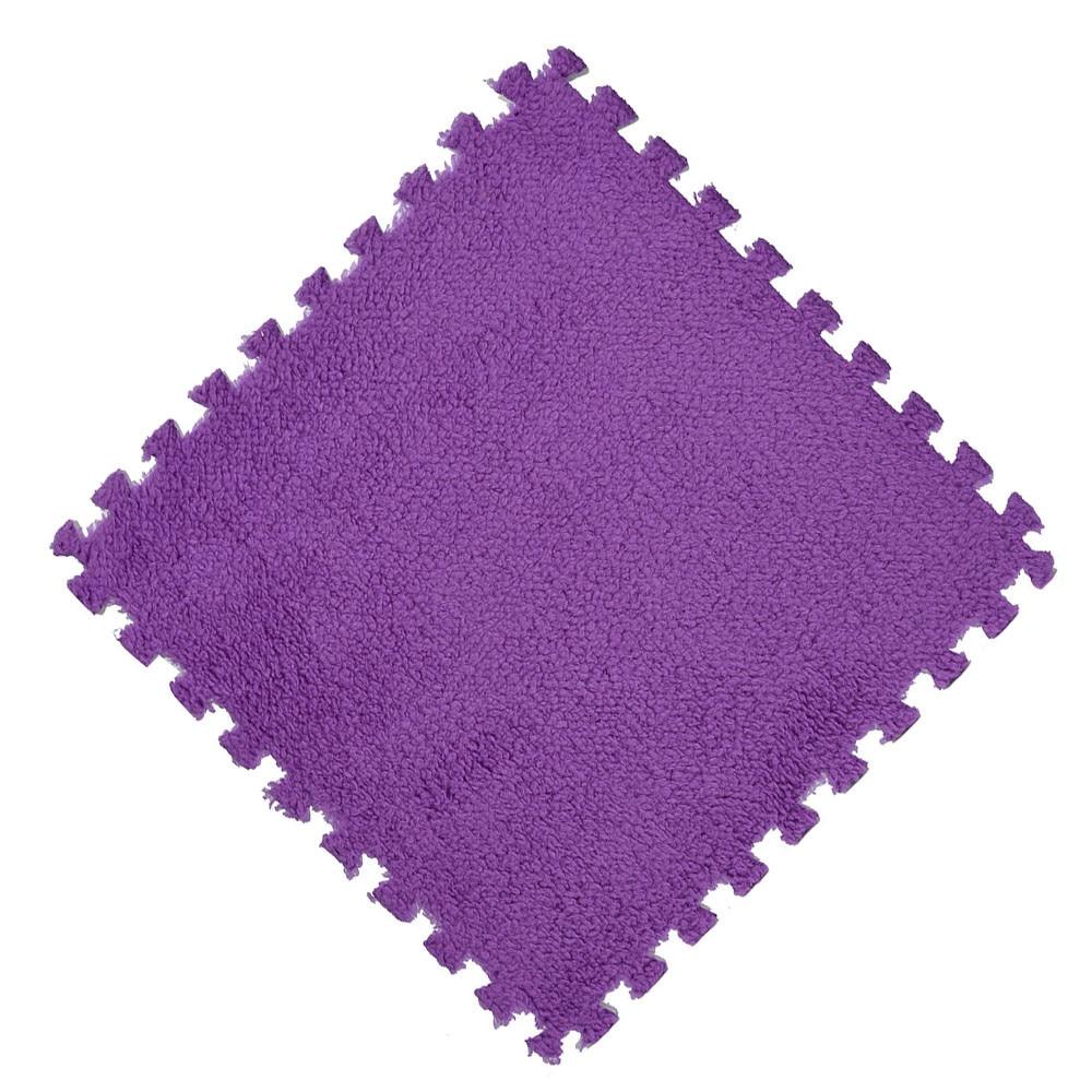 Hccd3c31d5952492c9163367b0b9361a0K Play Mats 25X25cm Kids Carpet Foam Puzzle Mat EVA Shaggy Velvet Baby Eco Floor 7 colors 10.30