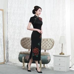 Image 3 - 2019 gerçek stil boyama ağır ipek Cheongsam uzun kısa kollu fabrika doğrudan satış büyük boy kadın yüksek son zarif