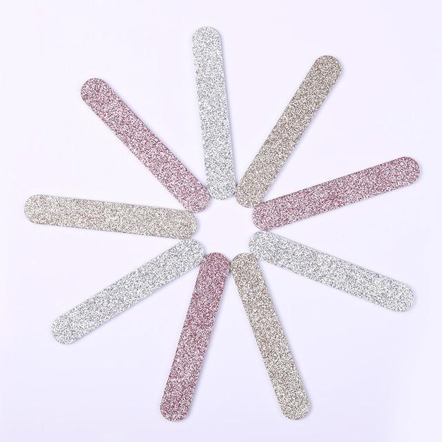 1 Pc Professional Nail File Champagne Gold Glittery Grinding Nail Files Pink Silver Nail Buffer UV Gel Nail Art Pedicure