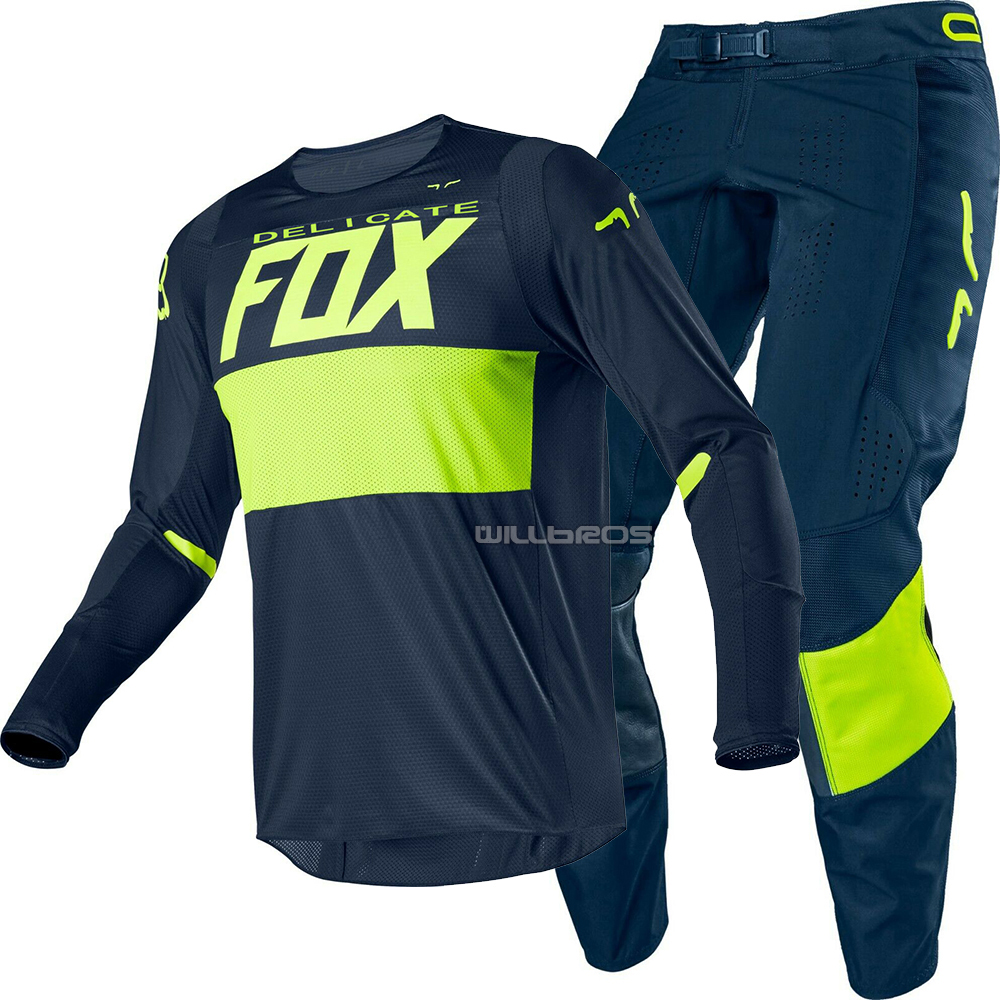 2020 Delicate Fox MX Racing Blue/yellow Bann Jersey Pant Motorcycle MTB Bike Gear Set MX Off-road Locomotive Suit