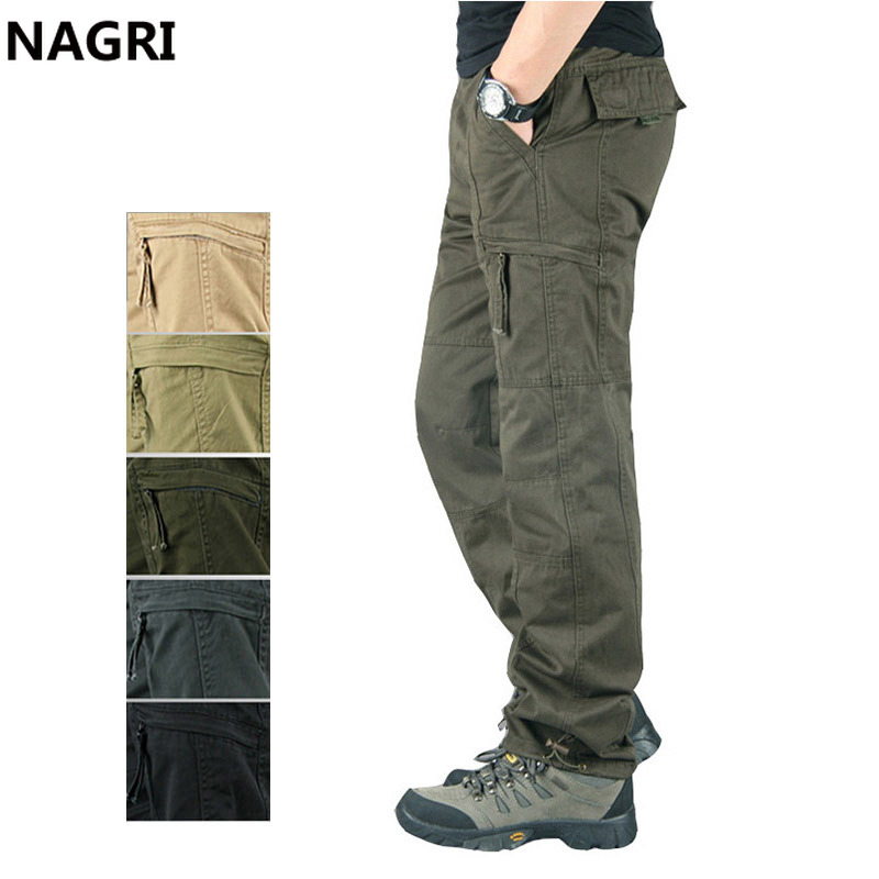 Overalls Men Cargo Pants Outwear Multi Pockets Military Army Tactical Pants Men Elastic Waist Straight Slacks Casual Trousers