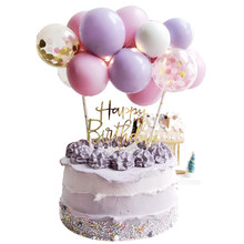 10Pcs 5inch Balloon Cake Topper Set Birthday Party Decoration Confetti Balloon Cake Toppers Baby Shower Wedding Decor Supplies