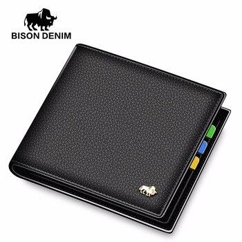 BISON DENIM fashion genuine leather wallets slim business male pocket credit card holder purse wallet